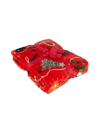 Dolce Bonita Wellsoft 3D Tv Battaniye Holly Santa Kırmızı